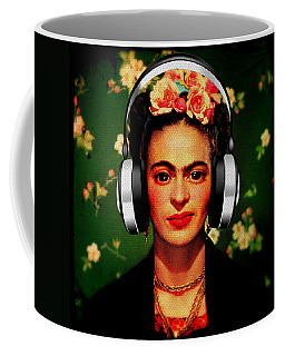 Coffee Mug featuring the mixed media Frida Jams by Michelle Dallocchio
