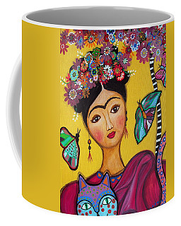 Coffee Mug featuring the painting Frida Kahlo And Her Cat by Pristine Cartera Turkus