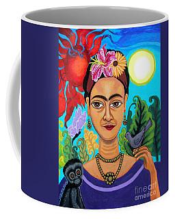 Frida Kahlo With Monkey And Bird Coffee Mug