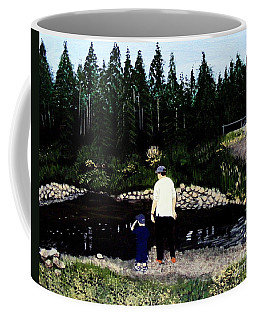Coffee Mug featuring the painting Frog Hunting With Poppy by Barbara Griffin