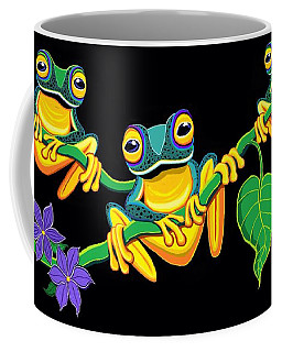 Coffee Mug featuring the painting Frogs On Vines by Nick Gustafson