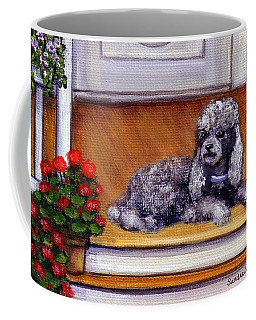 Coffee Mug featuring the painting Front Porch Poodle by Sandra Estes