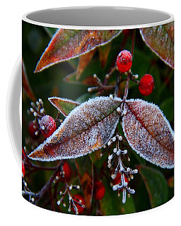Frosted Nandina Leaves Coffee Mug by Kathryn Meyer