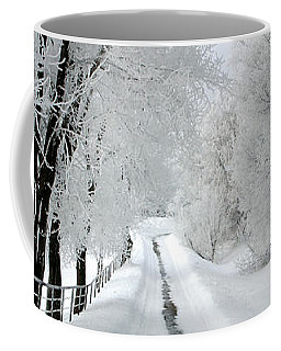 The Long Frosted Road Coffee Mug