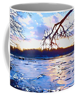 Frozen Delaware River Sunset Coffee Mug