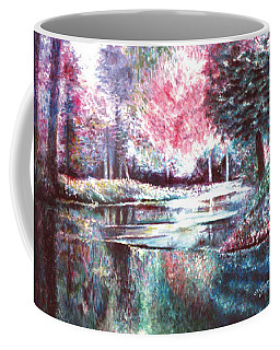 Coffee Mug featuring the painting Frozen Pond by Lynn Buettner