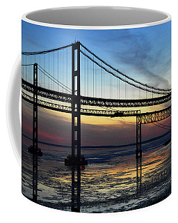 Coffee Mug featuring the photograph Frozen Waters Under The Bay Bridge by Bill Swartwout