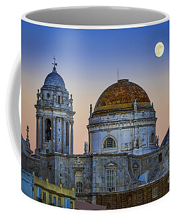 Full Moon Rising Over The Cathedral Cadiz Spain Coffee Mug