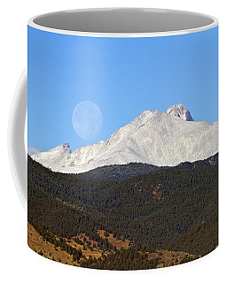 Full Moon Setting Over Snow Covered Twin Peaks  Coffee Mug