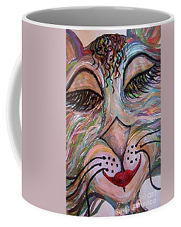 Coffee Mug featuring the painting Funky Feline  by Eloise Schneider