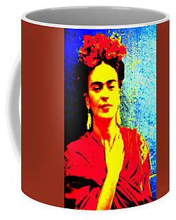 Coffee Mug featuring the mixed media Funky Frida IIi by Michelle Dallocchio