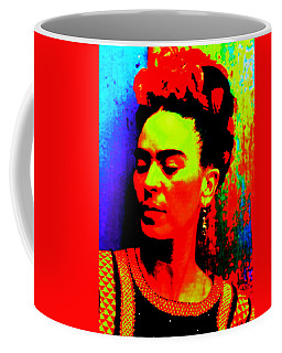 Coffee Mug featuring the mixed media Funky Frida by Michelle Dallocchio