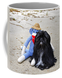 Funky Monkey And Sweet Shih Tzu Coffee Mug by Al Powell Photography USA