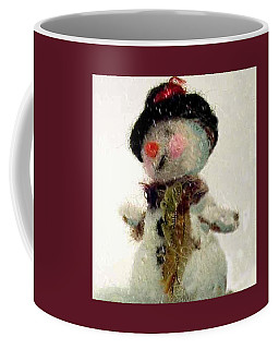 Coffee Mug featuring the photograph Fuzzy The Snowman by Mary Wolf