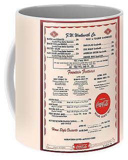 Fw Woolworth Lunch Counter Menu Coffee Mug