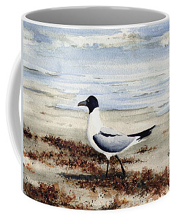 Coffee Mug featuring the painting Galveston Gull by Sam Sidders