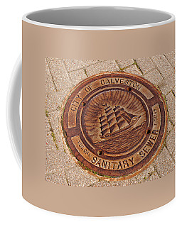 Coffee Mug featuring the photograph Galveston Texas Manhole Cover by Connie Fox