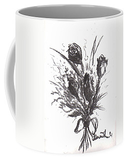 Coffee Mug featuring the drawing Garden Beauty by Laurie Lundquist