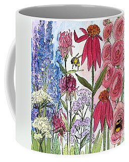 Garden Flower And Bees Coffee Mug