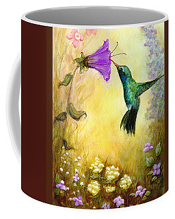 Coffee Mug featuring the mixed media Garden Guest In Brown by Terry Webb Harshman