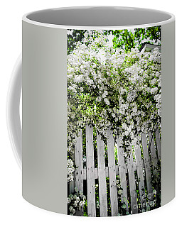 Garden With White Fence Coffee Mug