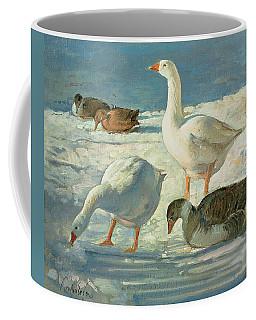 Geese And Mallards, 2000 Oil On Canvas Coffee Mug