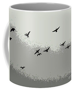 Coffee Mug featuring the photograph Geese In Sillouehette by Nina Silver