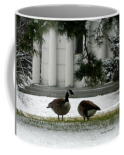 Coffee Mug featuring the photograph Geese In Snow by Kathy Barney