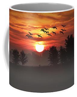 Geese On A Foggy Morning Sunrise Coffee Mug