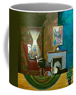 Gentleman Sitting In Wingback Chair Enjoying A Brandy Coffee Mug
