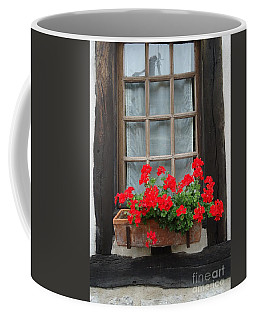 Geraniums In Timber Window Coffee Mug