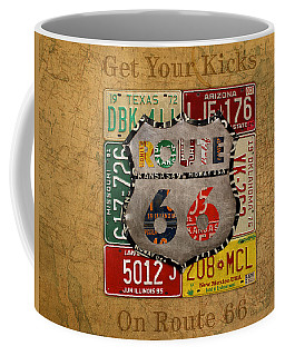 Get Your Kicks On Route 66 Vintage License Plate Art On Worn United States Highway Map Coffee Mug
