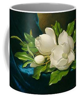 Giant Magnolias On A Blue Velvet Cloth Coffee Mug