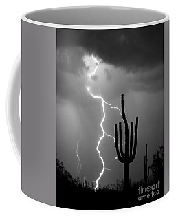 Giant Saguaro Cactus Lightning Strike Bw Coffee Mug