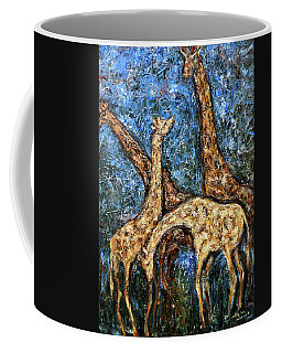 Coffee Mug featuring the painting Giraffe Family by Xueling Zou