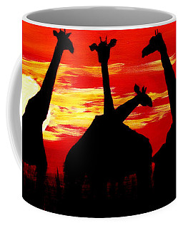 Giraffes Sunset Africa Serengeti Coffee Mug