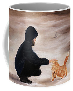 Girl And A Cat Coffee Mug