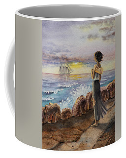 Coffee Mug featuring the painting Girl And The Ocean Sailing Ship by Irina Sztukowski