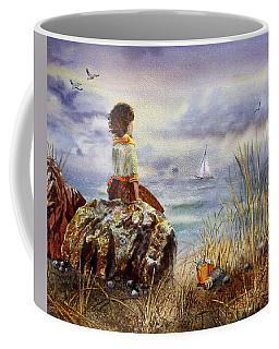 Girl And The Ocean Sitting On The Rock Coffee Mug