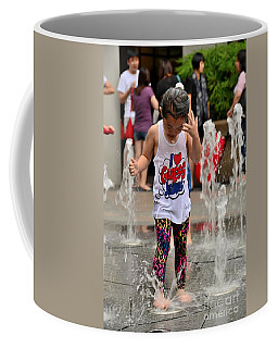 Girl Child Plays With Water At Fountain Singapore Coffee Mug
