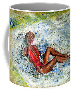 Girl In A Red Swimsuit Coffee Mug