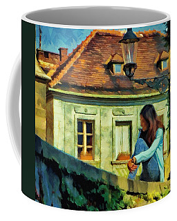 Girl Posing On Stone Wall Coffee Mug by Jeff Kolker