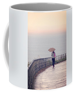 Girl Walking With Umbrella Coffee Mug