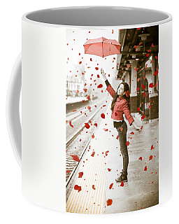Girl With Red Umbrella Coffee Mug