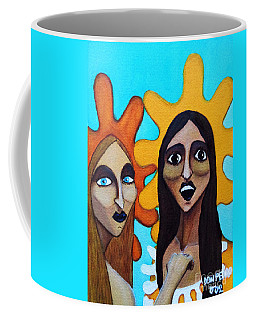 Coffee Mug featuring the painting Girls Caught In Fraganti by Don Pedro De Gracia