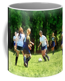 Girls Playing Soccer Coffee Mug