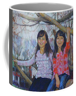 Coffee Mug featuring the drawing Girls Upon The Tree by Viola El