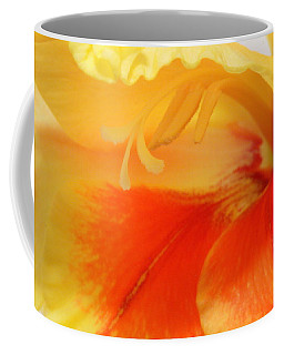 Coffee Mug featuring the photograph Gladiola Hello by Deborah  Crew-Johnson