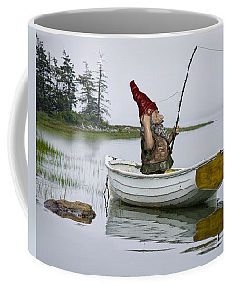 Gnome Fisherman In A White Maine Boat On A Foggy Morning Coffee Mug