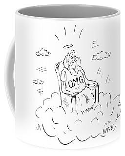 God Sits On A Throne Wearing A Shirt Reading Coffee Mug